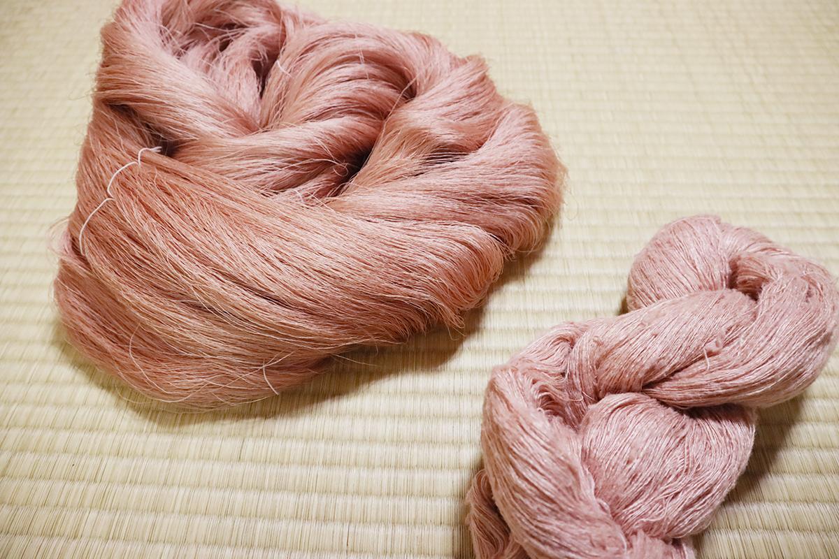 草木染め・桜染めの絹糸