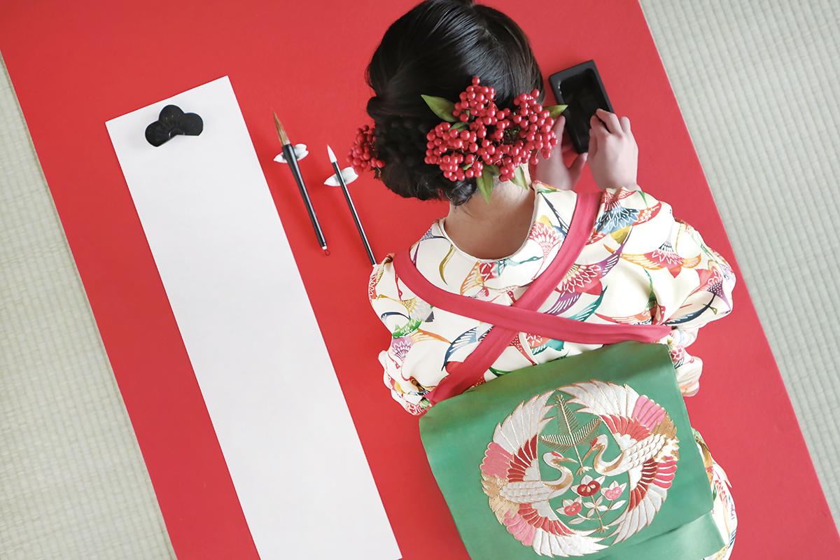 1月の着物:華やか小紋