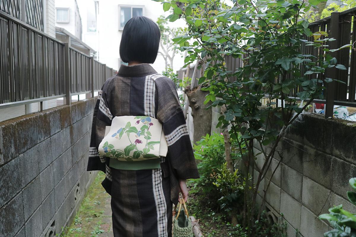 4月紬のコーディネート